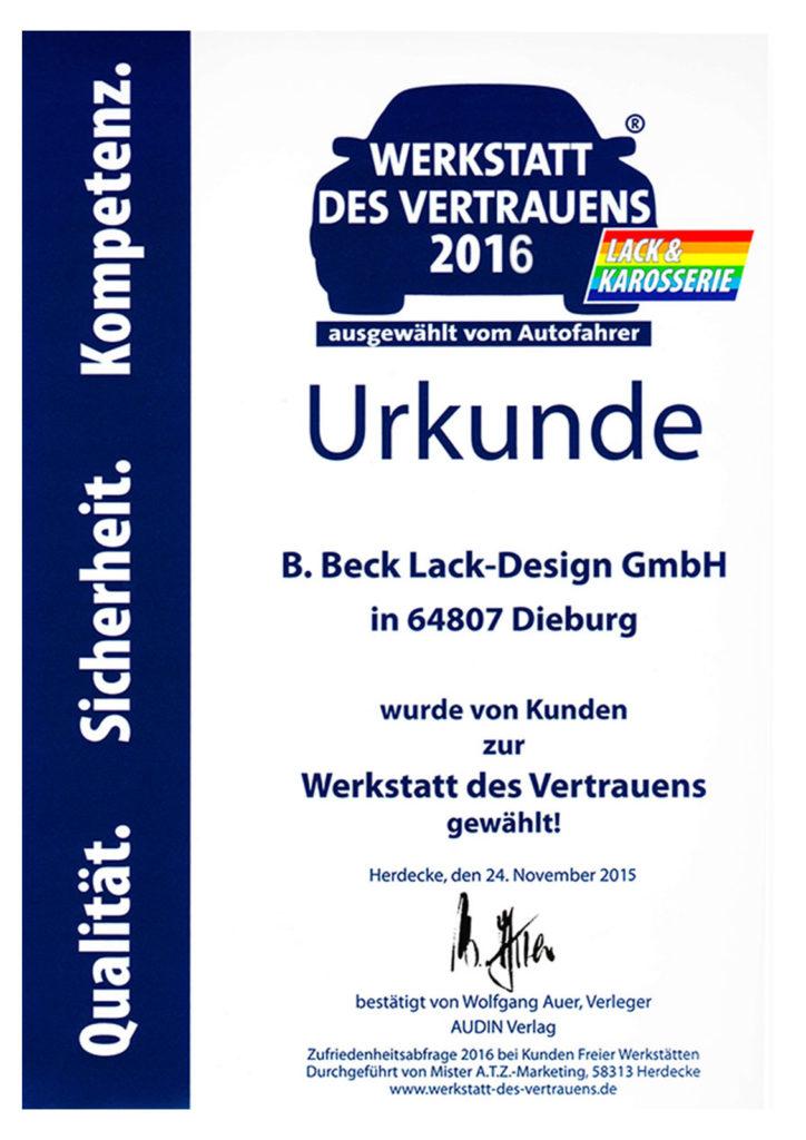 Beck-Lackdesign wurde 2016 von unseren Kunden zur Werkstatt des Vertrauens gewählt